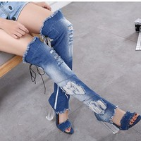 Ladies Over The Knee Thigh High Denim Boots Open Toe Transparent Block Thick High Heel