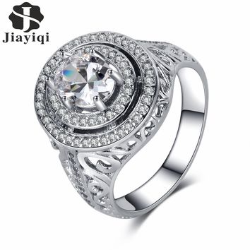 2017 New Fashion Silver Color Rings Luxury Oval Zircon Stone Engagement Wedding Promise Ring for Women Gift Jewelry free box