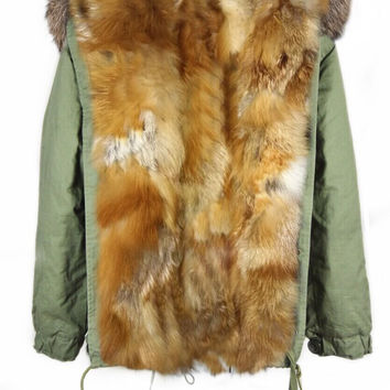 Parka Jacket Full Fox Fur Green Natural Lined Reversible