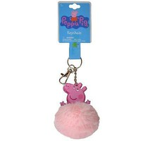 Licensed Party Favors Peppa Pig Pink Fur Ball Keychains