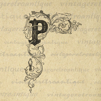 Elegant Letter P Digital Graphic Image Floral Design Printable Download Antique Clip Art for Transfers etc HQ 300dpi No.795