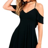 Sweet Off The Shoulder Casual Mini  Dress Sexy Cute Slip Beach Dress Tunic Black Skater Dress SM6
