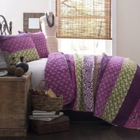 Royal Empire Purple Striped Boho 3 PC Quilt Bedding SET