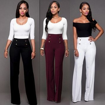 2017 Fashion Women Casual Summer Palazzo High Waist Career Wide Leg Trousers Loose Pants New