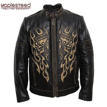 MAPLESTEED Motorcycle Leather Jacket Men Leather Jacket  Skull Cowhide Black Vintage Genuine Leather Jacket Mens Biker Coat 092