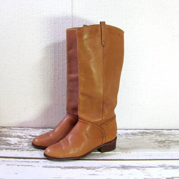STOREWIDE SALE...Vintage 70s butternut brown leather suede tall cowboy boots. wooden heel cowgirl boots. size 7