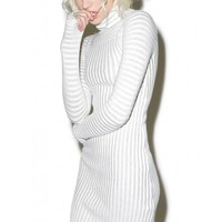 For Love & Lemons Switch Stripe Grey Turtleneck Dress | Dolls Kill