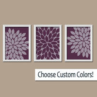 Purple Wall Art Canvas Bedroom Artwork Eggplant Flower Burst Dahlia Bloom Set of 3 Trio Prints  Decor Bathroom Three