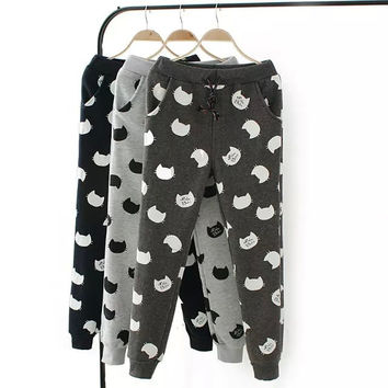 Cat Print Drawstring Sweat Pants