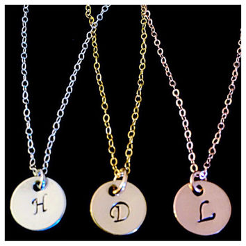 Tiny Personalized Hand Stamped Initial Necklace in Beautiful Gold Filled, Sterling Silver, or Rose Gold Filled!