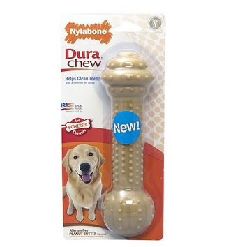 Nylabone Dura Chew Peanut Butter Flavored Barbell Dog Toy Lg/XL