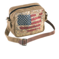 Mona B USA Flag Patch Upcycled Canvas Crossbody Bag with Coin Purse