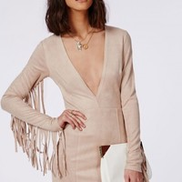 Missguided - Suede Tassel Long Sleeve Plunge Bodycon Dress Nude
