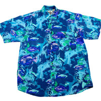 Vintage 90s Hilo Hattie Shades of Blue Fish Print Silk Hawaiian Shirt Mens Size Small