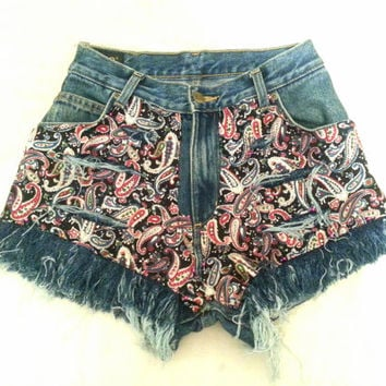 Denim shorts paisley shredded MADE TO ORDER