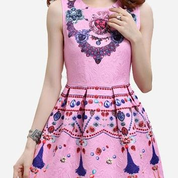 Women's Sacred Heart Skater Dress - Pastel Pink / Sleeveless