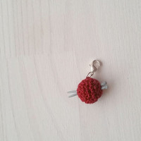 Charm bracelet, pendant: tiny ball of yarn with mini polymer clay knitting needles, gift for knitterin, add on charm