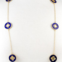 Flower Inspired Long Chain Necklace - Blue