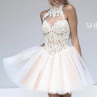 Structured Lace Dress by Sherri Hill