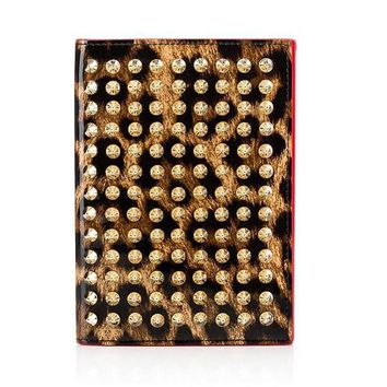 Gold Spiked Leopard Passport  Holder by Christian Louboutin