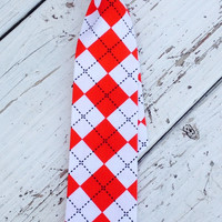 Red and White Argyle Neck Tie
