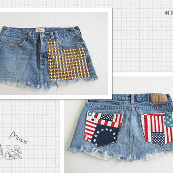 High waisted American flag Denim Skirt-distressed Denim skirt-Destroyed denim Skirt-Fourth of July outfit.