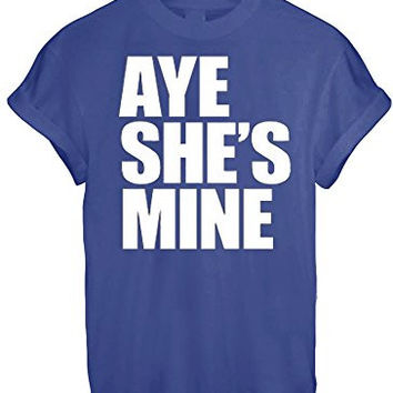 AYE HE'S SHE'S MINE MICKEY MOUSE HAND PRINTED t shirt Top Tee size XS S M L XL - Blue