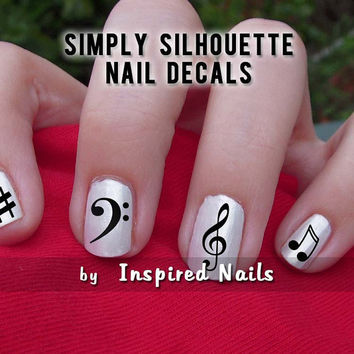 Music Nail Decals Black and Clear Simply by InspiredNails on Etsy