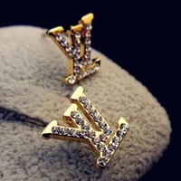 Louis Vuitton Classic Fashionable Women LV Letter Diamonds Stud Earrings Accessories Jewelry Golden I/A