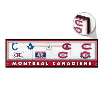 "MONTREAL CANADIENS THROUGHOUT THE YEARS LOGO VINTAGE WOOD SIGN 9""x30"" WINCRAFT"