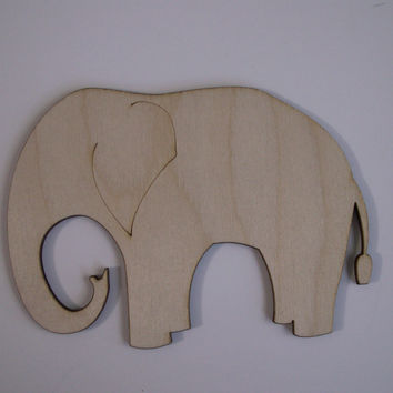 Elephant Wood Shapes, Laser Cut Wood, Ready to Paint Woodcraft, Nursery Wall Art, Ornaments, Sorority Crafts, 6 PIECES
