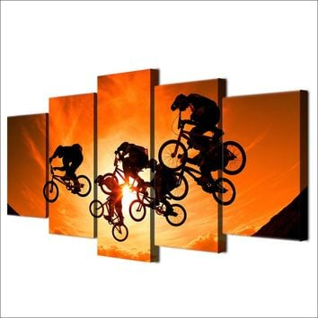 BMX bicycle bike motocross jumping sunset HD poster and print canvas print for l