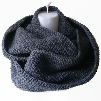 Charcoal Grey Wool Blend Infinity Scarf