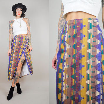Navajo 70's Denim Southwestern Striped WRAP High waist Skirt Midi Aztec Boho Chevron Kilim hippie gypsy Med