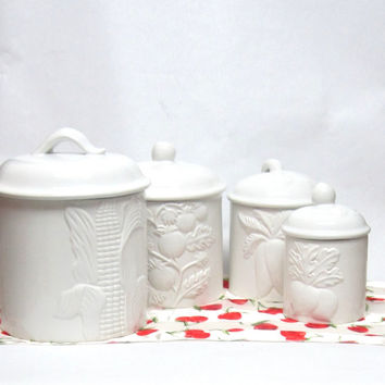 White Ceramic Canister Storage Containers 4 pc set