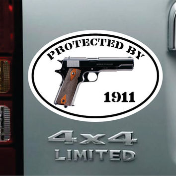 Protected By 1911 Oval Vinyl Decal Bumper Sticker -  Car Truck Pro NRA Pistol Handgun .45 Cal ACP 9MM Second Amendment  Ammo Gun Jeep Chevy