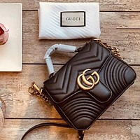 Gucci Fashion Sales Double G Lady V Leather Mini Bag Shopping Bag 1#