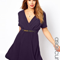 ASOS Curve | ASOS CURVE Wrap Dress with Metal Belt at ASOS