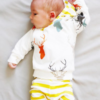 2pcs Toddler Baby Girls Boys Clothes New Cute Animals Cotton Hooded Top Pants Outfits Deer Clothing Set