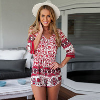 Red Floral Print V-Neck Half Sleeve Romper