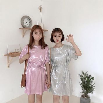 Korea summer women casual pure color bow tie dress loose wild sparkling vintage dress Vadim Plus Size Gown Evening Party Dresses