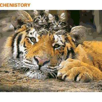 CHENISTORY Animals DIY Painting By Numbers Tiger Cat Paint By Numbers Home Wall Art Picture Calligraphy Painting 40x50cm Artwork