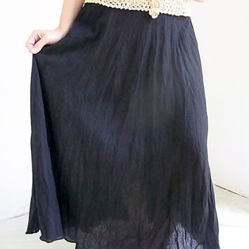 Thai Handmade Black Crochet Long Skirts for Women,  Boho, Beach wear, Summer Comfortable  one size, Cotton material.