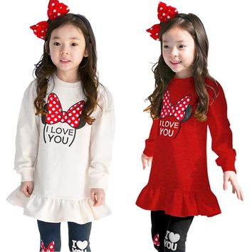 Fashion Spring Kids Clothing Set Stretch Tops + Pants 2pcs Cotton Casual Cartoon Long Sleeve Girls Clothes Suit 3 5 7 8 Years