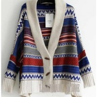 Women Star Fashion Multicolour Loose Totem Long Sleeve Knitting Cardigan Cloak Coat One Size@II0175 $22.73 only in eFexcity.com.