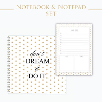 Notebook set - Notepad - Journal - Large Notebook - Notebook - Personalized Gift School - School Supplies -  Office supplies
