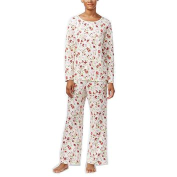Charter Club Printed Knit Pajama Set 161167 Holiday Floral Large