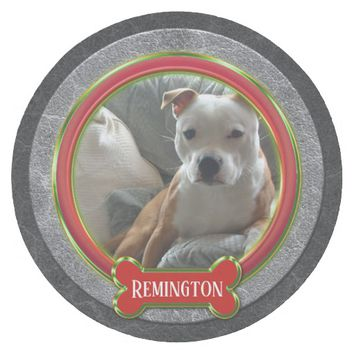 Gray Red Green Masculine Dog Pet Photo Christmas Round Paper Coaster