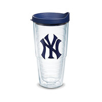 "Tervis 1033848 ""MLB New York Yankees Ny"" Tumbler with Navy Lid, Emblem, 24 oz, Clear"