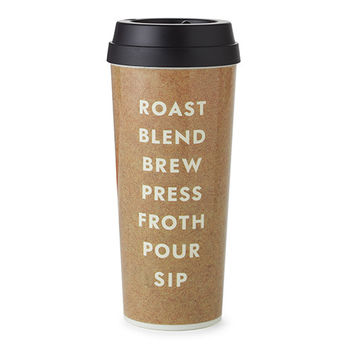 kate spade new york thermal mug - Roast, Blend, Brew (cream)